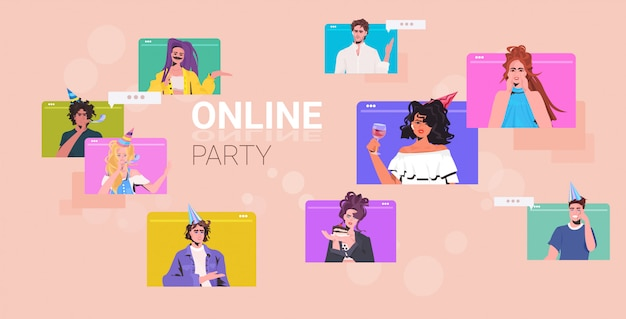 Impostare persone che celebrano la festa di compleanno mix gara uomini donne divertirsi celebrazione concetto browser web raccolta finestre ritratto illustrazione orizzontale