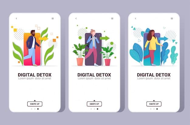 Impostare le persone che escono dal cellulare concetto di disintossicazione digitale caratteri in fuga dalla dipendenza digitale