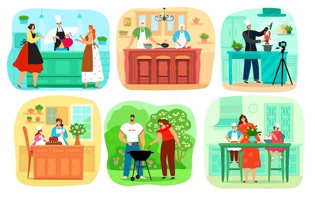 Insieme di persone che cucinano cibo