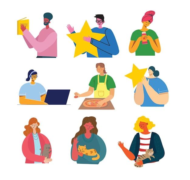 Insieme di persone in diversi set di illustrazioni di azioni