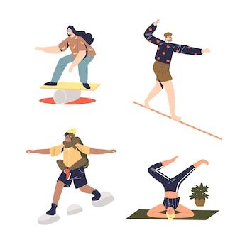 Insieme di persone che fanno esercizi fisici sull'equilibrio