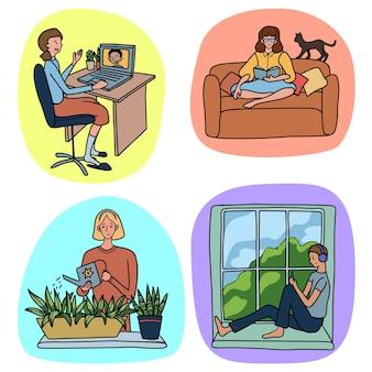 Insieme di persone impegnate in vari hobby e intrattenimento a casa. raccolta di illustrazioni vettoriali disegnate a mano in stile semplice. disegni colorati per il design isolato su bianco.