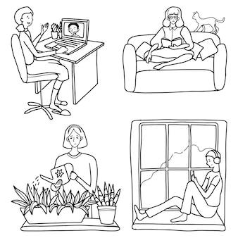 Insieme di persone impegnate in vari hobby e intrattenimento a casa. raccolta di illustrazioni vettoriali disegnate a mano in stile semplice. disegni di contorno per il design isolato su bianco.