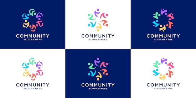Set di persone famiglia e modello di logo di unità umana.