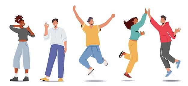 Insieme di persone che provano emozioni positive, danno il cinque, mostrano il gesto giusto, saltano con le braccia alzate e mostrano il pollice in su