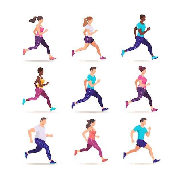 Insieme di persone che fanno jogging. gruppo di corridori in movimento. allenamento alla maratona. illustrazione di stile alla moda.