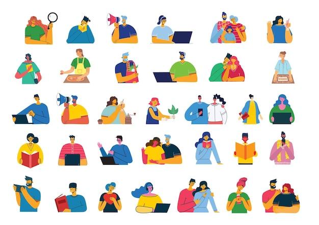 Insieme di persone, uomini e donne, famiglia con bambini legge libri, lavora su laptop, cerca con lente d'ingrandimento, comunica.