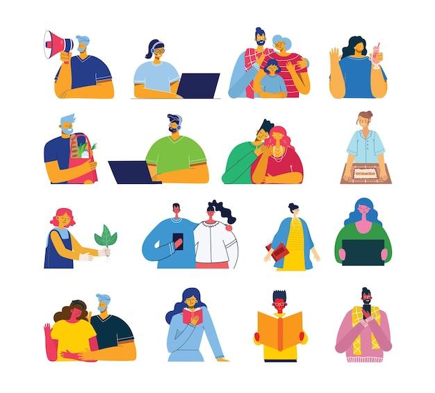 Insieme di persone, uomini e donne, famiglia con bambini legge il libro, lavora al computer portatile