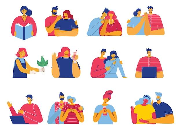 Insieme di persone, uomini e donne leggono libri, lavorano su laptop, cercano con lente d'ingrandimento, comunicano. stile piatto colorato moderno.
