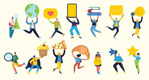 Insieme di persone, uomini e donne con segni diversi: libro, lavoro sul laptop, ricerca con lente d'ingrandimento, comunicazione.