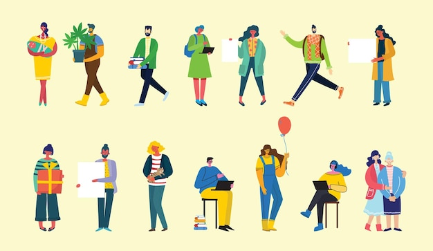 Insieme di persone, uomini e donne con segni diversi.