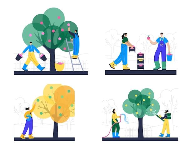 Insieme di persone che raccolgono mele da un albero e le trasportano utilizzando scatole, cestini e secchi