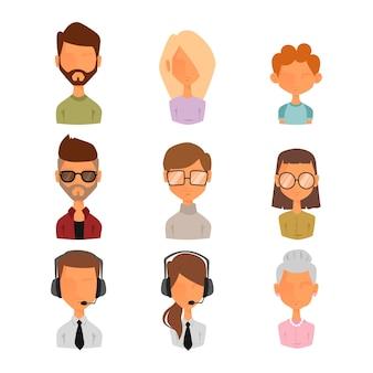 Set di persone ritratto faccia icone web avatar stile.
