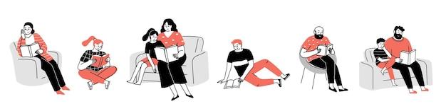Imposta le persone che leggono libri la famiglia degli studenti anziani legge libri ovunque