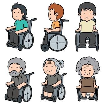 Insieme di persone sedute su sedia a rotelle isolato su bianco