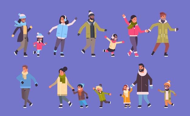 Impostare le persone che pattinano sulla pista di pattinaggio sul ghiaccio attività degli sport invernali ricreazione durante le vacanze concetto mescolare i genitori della corsa con i bambini che trascorrono del tempo insieme a tutta lunghezza banner orizzontale illustrazione vettoriale