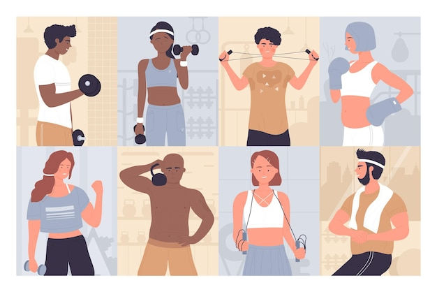 Insieme di persone in allenamento allenamento sportivo