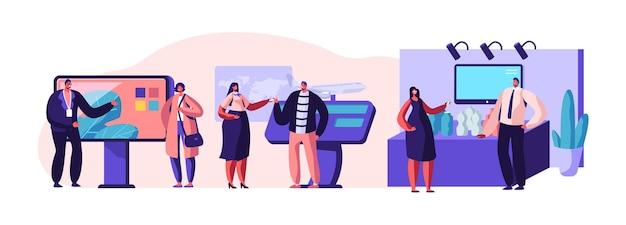 Insieme di persone in piedi accanto a stand promozionali commerciali, provando campioni di prodotti, parlando con consulenti e promotori che pubblicizzano beni o servizi in fiera. illustrazione di vettore piatto del fumetto