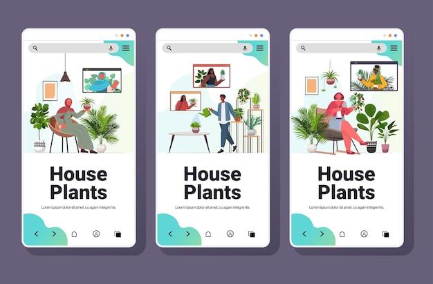 Impostare le persone che si prendono cura delle piante d'appartamento che hanno un incontro virtuale con gli amici della razza mista durante la videochiamata dello spazio della copia orizzontale della raccolta di schermi dello smartphone