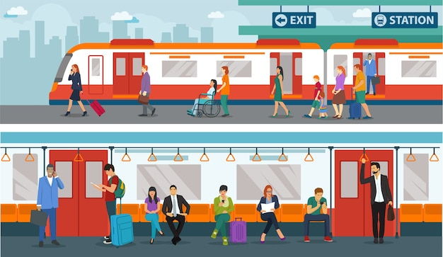 Insieme di persone nella stazione ferroviaria. situazione della stazione ferroviaria al mattino Vettore Premium