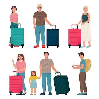 Insieme di persone che viaggiano con zaini e valigie