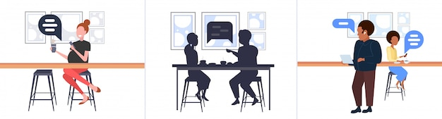 Impostare le persone utilizzando mobile app chat bolla social media comunicazione concetto uomini donne seduti al banco scrivania conversazione conversazione moderna street cafe orizzontale piena lunghezza
