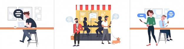 Impostare le persone che utilizzano mobile app chat bolla social media comunicazione concetto uomini donne a piedi all'aperto seduto al banco scrivania conversazione conversazione moderna street cafe integrale orizzontale