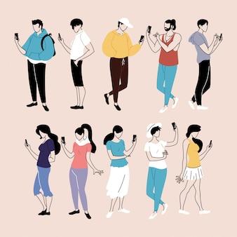 Insieme di persone che utilizzano smartphone, uomini e donne con dispositivi mobili