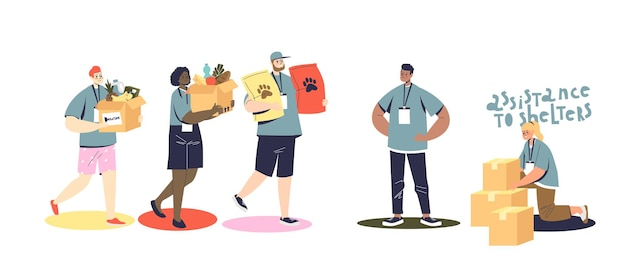 Insieme di volontari che fanno donazioni a persone povere e rifugi per animali. cartone animato maschio e femmina che donano cibo per scarso aiuto e supporto. illustrazione vettoriale piatta
