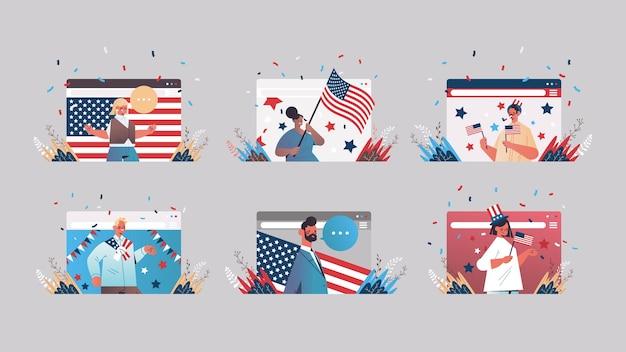 Imposta le persone nelle finestre del browser web che celebrano, il set web del giorno dell'indipendenza del 4 luglio