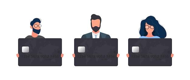Un insieme di persone che detengono una carta bancaria nera. il giovane in una giacca tiene una carta di plastica per un bancomat, isolato su uno sfondo bianco. vettore.
