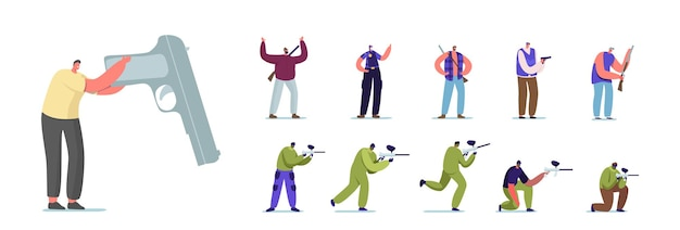 Insieme di persone con pistola a mano. personaggi maschili femminili che giocano a paintball, ufficiale di polizia in uniforme e cacciatore con fucile, criminale con pistola isolato su priorità bassa bianca. fumetto illustrazione vettoriale