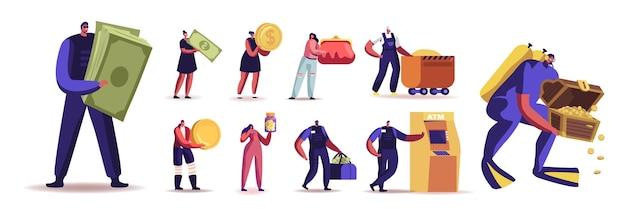 Insieme di persone con soldi. personaggi maschili e femminili che estraggono oro, cercano tesori, fanno shopping e prelevano contanti dal bancomat, risparmi isolati su sfondo bianco. fumetto illustrazione vettoriale