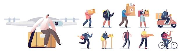 Insieme di persone che lavorano nel servizio di consegna. personaggi maschili e femminili che portano pacchi, medicine, generi alimentari e posta utilizzando drone, scooter e bici isolati su sfondo bianco. fumetto illustrazione vettoriale