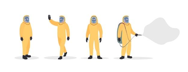 Insieme di persone in tute protettive gialle. uomo in una muta stagna isolata. tuta da virus e radiazioni. .