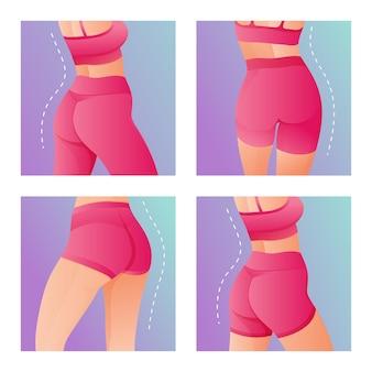 Set di perfect slim tonica giovane corpo delle donne