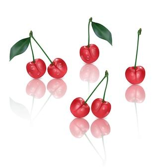 Set di ciliegie dolci perfette isolate.