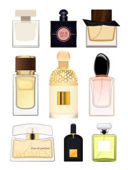 Impostare la bottiglia di profumo su sfondo bianco bottiglia di profumo per le donne fragranza femminile eau de toilette