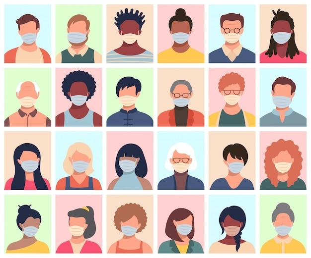Insieme di persone, avatar, teste di persone di diversa etnia ed età in maschere protettive. uomini e donne in stile piatto seguendo le raccomandazioni per la prevenzione del coronavirus.