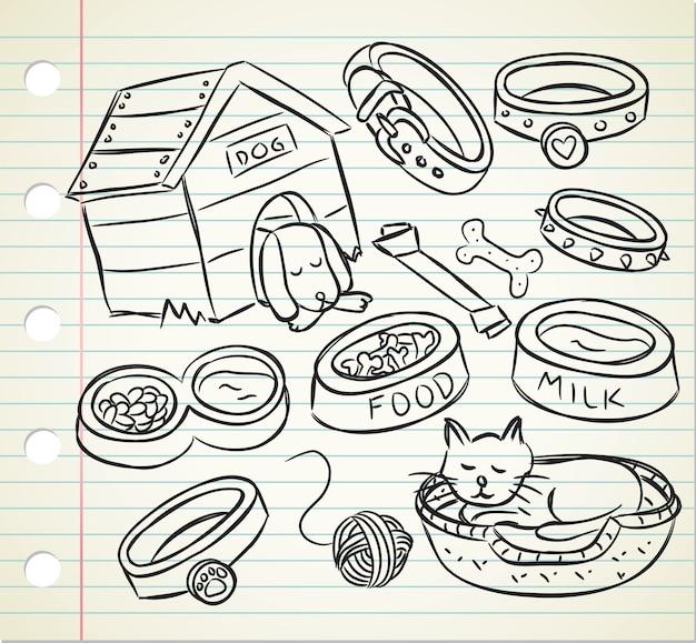 Set di doodle dell'animale domestico
