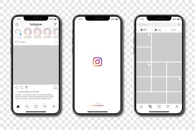 Set di telefono con cornice modello di social media