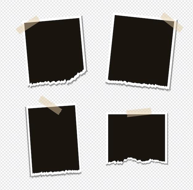 Set di design mockup cornice foto su nastro adesivo isolato Vettore Premium