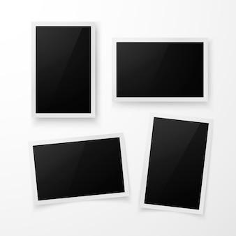 Set di cornice per foto con ombra. modello di bordo foto realistico. illustrazione su sfondo bianco