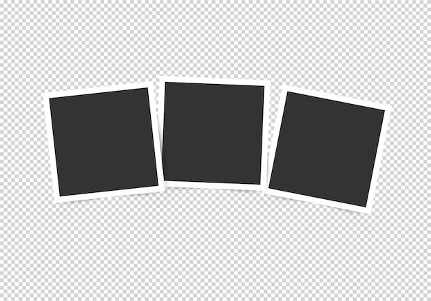Set di cornici per foto. mockup per le tue foto isolato