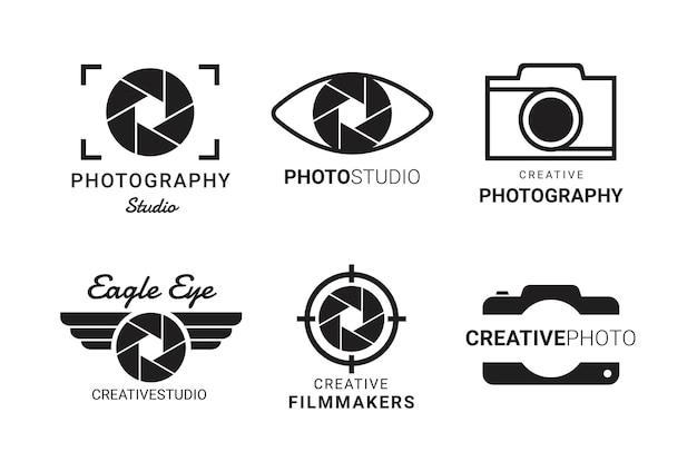 Set di logo fotografico modello di obiettivo della fotocamera