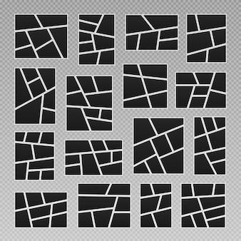 Set di collage di cornici per foto layout di griglia di pagine di fumetti cornici per foto astratte e foto digitali