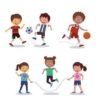 Serie di immagini di bambini che esercitano calcio, basket e salto con la corda