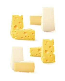 Set di pezzi di formaggio svizzero bri camembert isolato