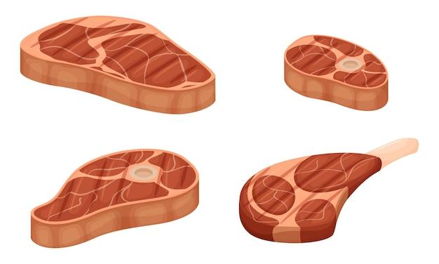 Un insieme di pezzi di carne alla griglia con strati di grasso. nocca con osso, scapola. carne cotta