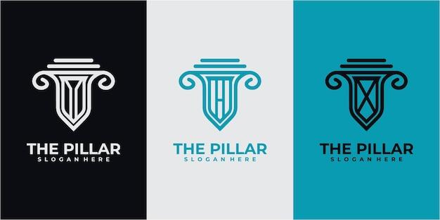 Insieme del concetto di design del logo del pilastro. ispirazione per il design del logo del pilastro. design del logo a 3 pilastri